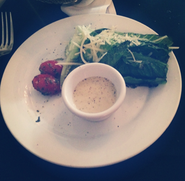 Grilled Romaine salad, no doubt prepared with some oil. But who. cares? It was scrumptious.