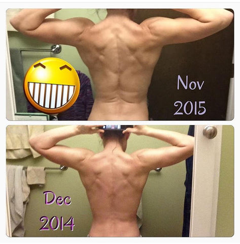 Upper body progress, from December 2014 to November 2015