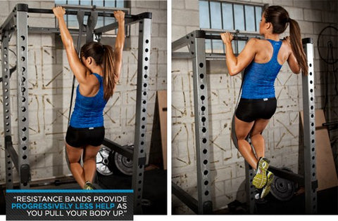 Band-assisted pullups: working your way up to the real thing.