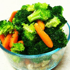 A giant bowl of broccoli and carrots. This was one of the good days.