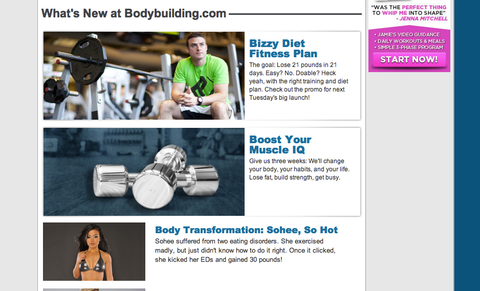 Hey, that's me... on the homepage of Bodybuilding.com!