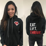 eat.lift.thrive Black Hooded Sweatshirt