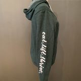 Forest green eat.lift.thrive. zip-up hoodie