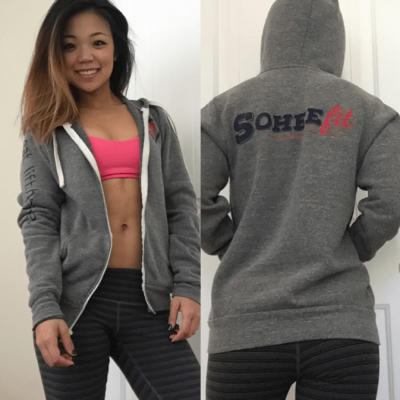 Grey eat.lift.thrive zip hoodie