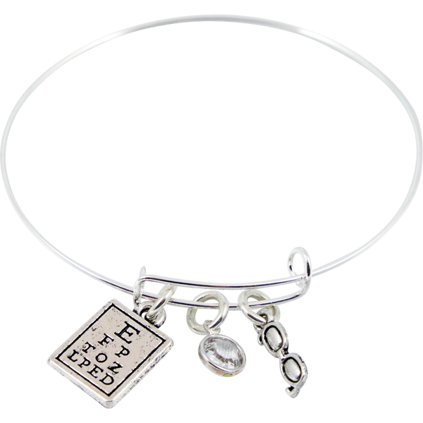 Bracelet with Eye Chart, Swarovski Crystal Bead & Glasses