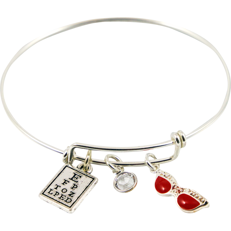 Bracelet with Eye Chart, Swarovski Crystal Bead & Red Glasses