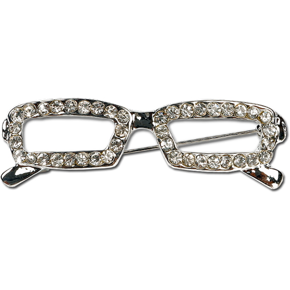 Silver Glasses with Rhinestones Fashion Pin