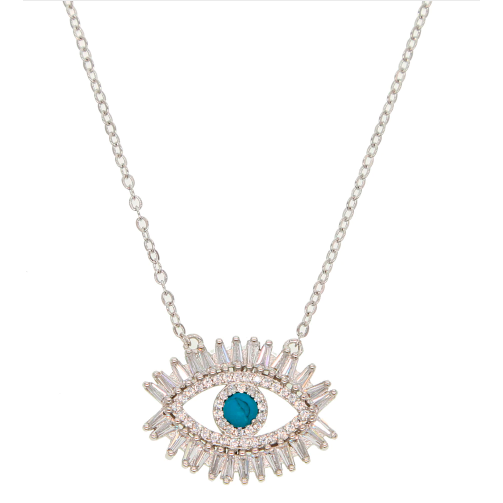 Necklace - Eye with Turquoise Stone & CZ Lashes