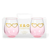 Stemless Glasses - Gold Hearts (Set of 2)