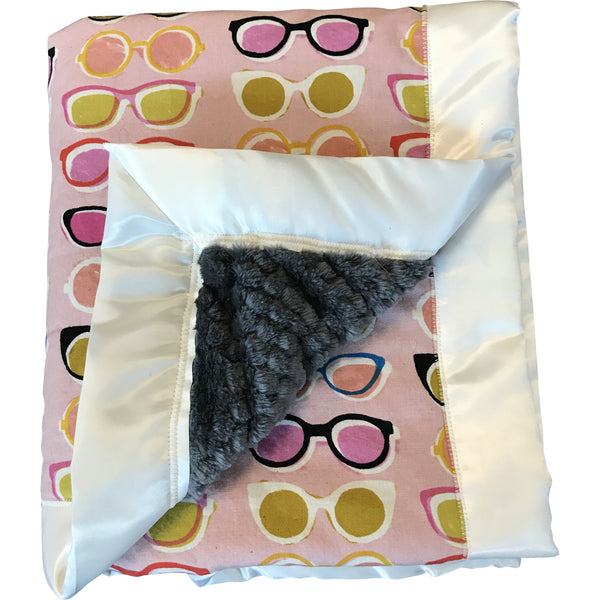 Pink Baby Blanket with Glasses