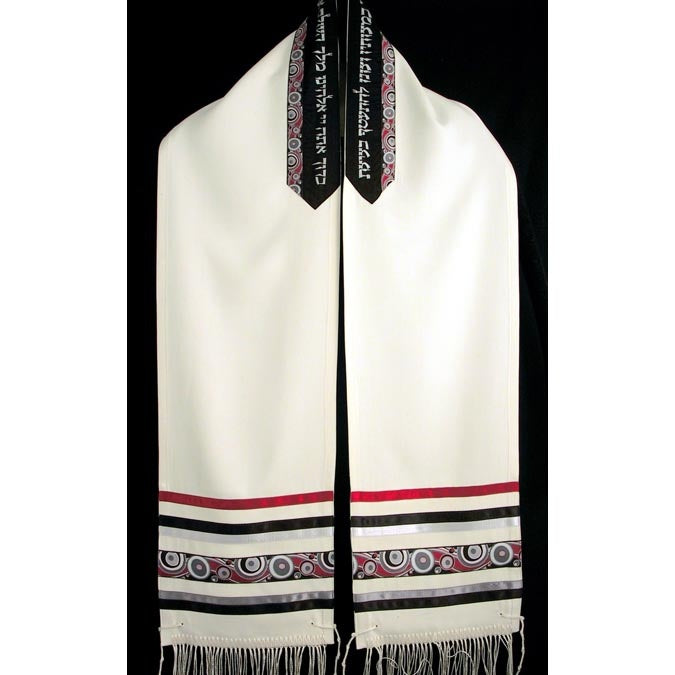 Men's Tallit Red, Black and Silver-2392 by Reeva