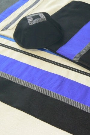 Blue and Black Tallit Set by Eretz Judaica