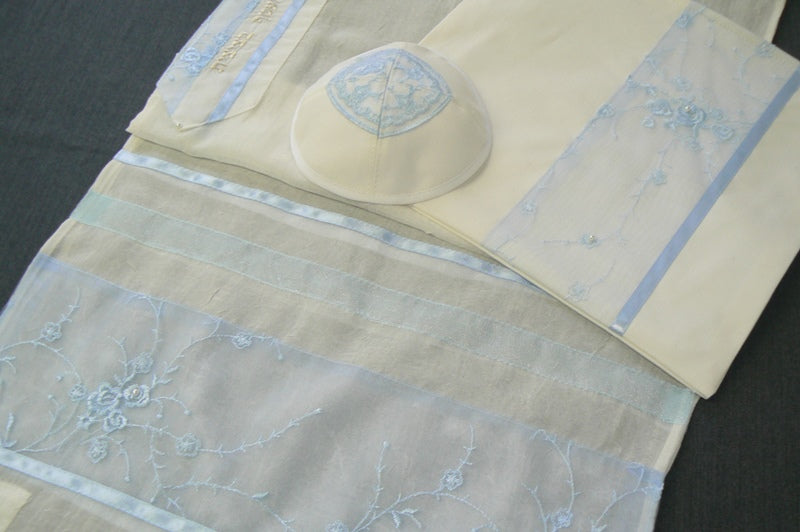 Pale Blue Chiffon Tallit Set by Eretz Judaica