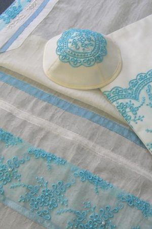 Turquoise Blue Tallit Set by Eretz Judaica