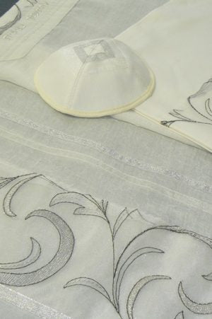 White Tallit Set with Silvery embroidery by Eretz Judaica