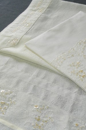White Tallit Set with Off White Tule by Eretz Judaica