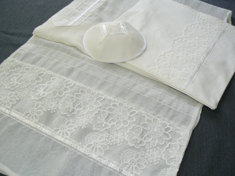 White Tallit Set with embroidered flowers by Eretz Judaica