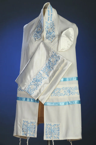 Blue Rose Tallit Set by Michelle Judaica