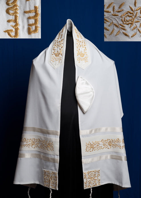 Gold Rose Tallit Set by Michelle Judaica