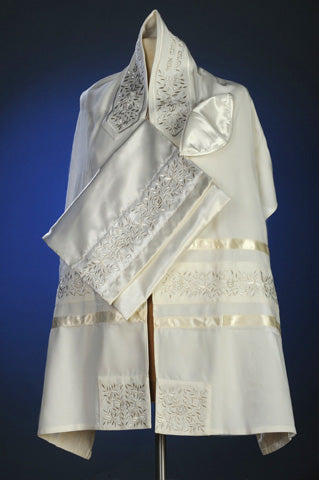 Silver Rose Tallit Set by Michelle Judaica