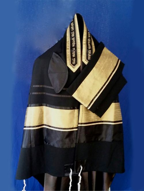 Men's Traditional Black and Gold Tallit Set by Michelle Judaica