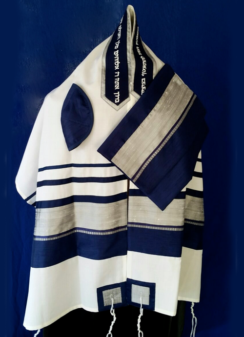 Men's Traditional Blue and Silver Tallit Set by Michelle Judaica