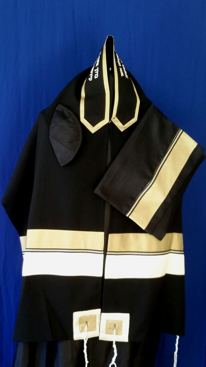 Men's Black Tallit Set by Michelle Judaica