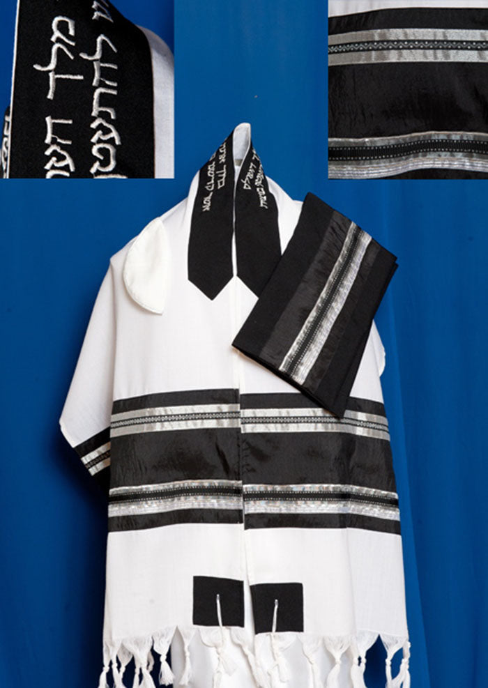 Men's Traditional Black and Silver Wool Tallit Set by Michelle Judaica
