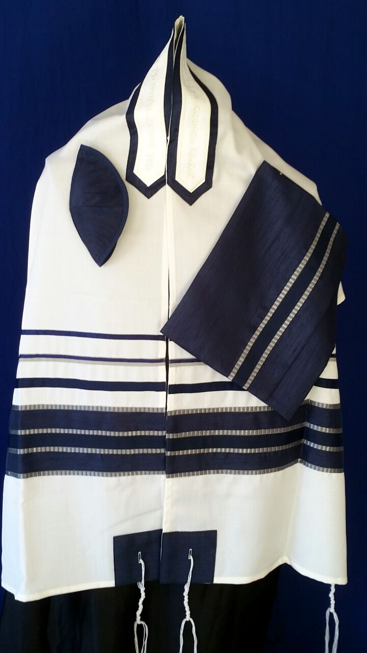 Men's Traditional Navy Tallit Set by Michelle Judaica