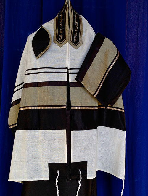Men's Black and Olive Tallit Set by Michelle Judaica