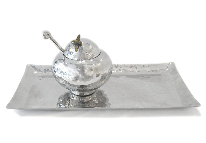 Honey Pot and Large Tray, Stainless Steel by Mary Jurek