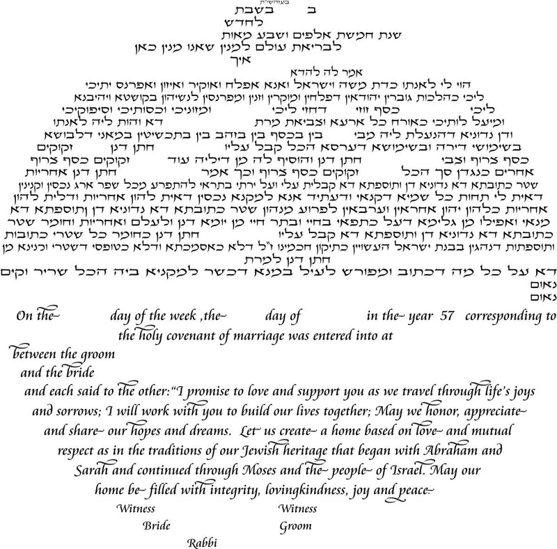 Double Tree Ketubah in Yellow and Green by Nehama Samson