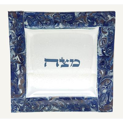 Marbled Blue & Grape Matzah Tray by Tamara Baskin