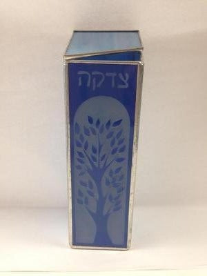 BLUE TREE OF LIFE TZEDAKAH BOX – STAINED GLASS