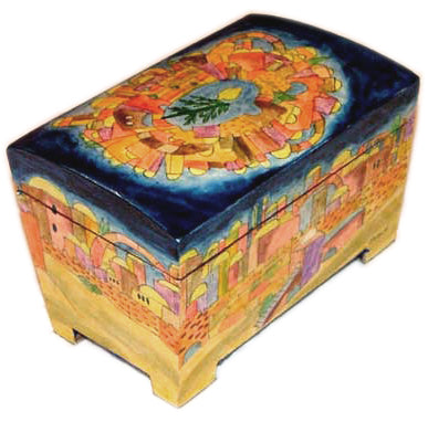 Etrog Box Jerusalem, Painted Wood by Emanuel