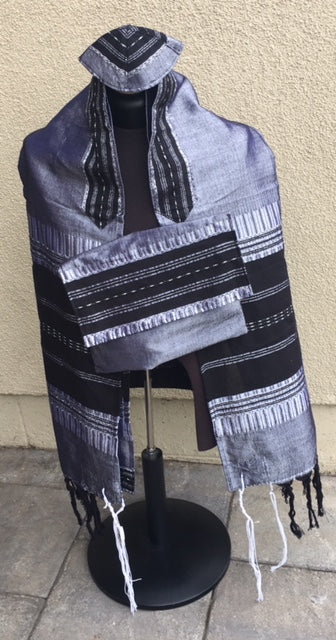 Gabrieli Silk Tallit -Gray and Black