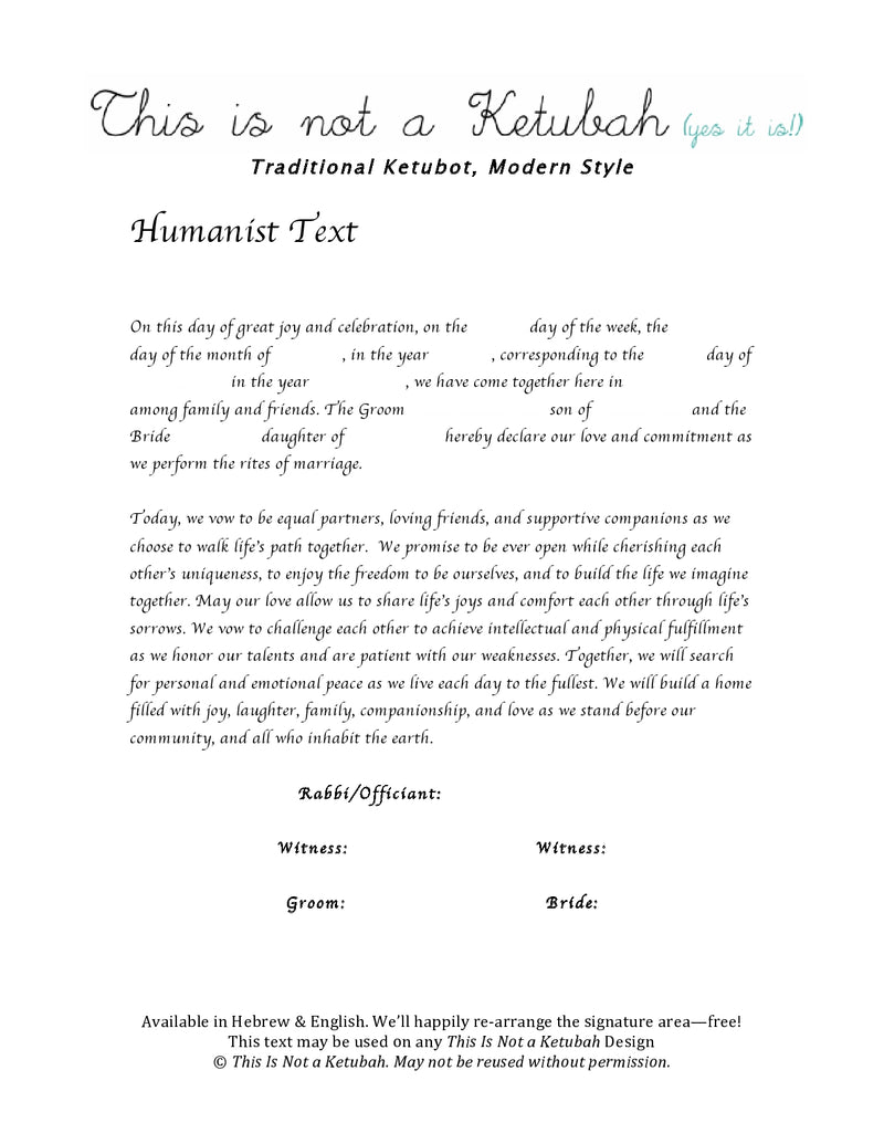 The Big Benjamin Ketubah by This is Not a Ketubah