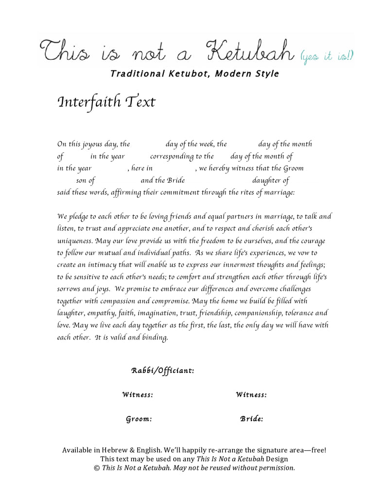 The I'll Be Seeing You Ketubah by This is Not a Ketubah