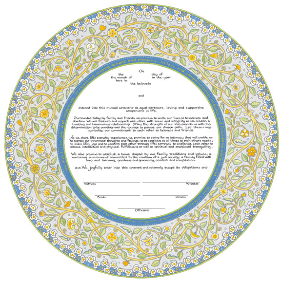 Joy & Happiness Ketubah by Mickie Caspi