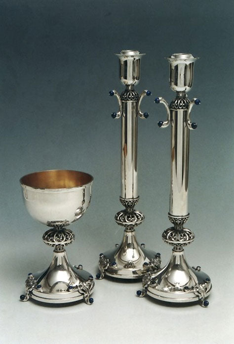 Kiddush Cup Candlesticks Sterling Silver 023-006L by Dabbah