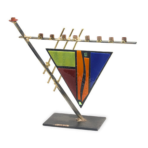 Art Deco Triangle with Colored Glass Menorah A21S by Gary Rosenthal