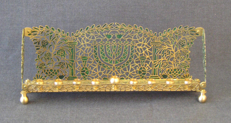 Temple in Green Menorah by Orit Grader