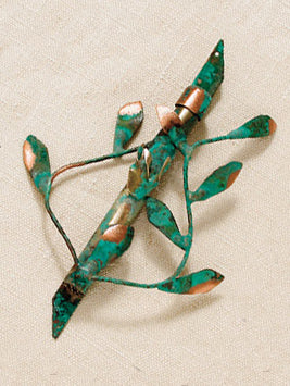 Mezuzah Vines - Green Patina by Gary Rosenthal