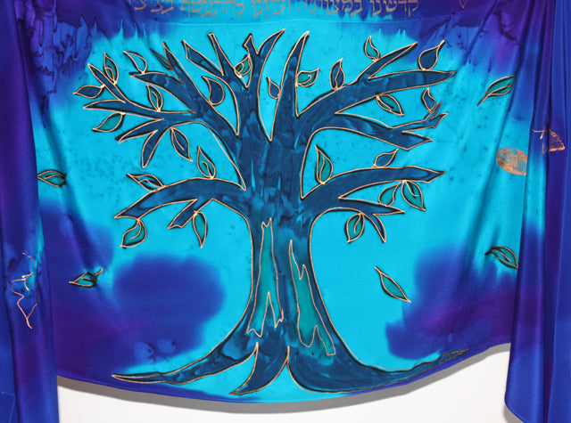 The Tree of Life Tallit Set - Blues