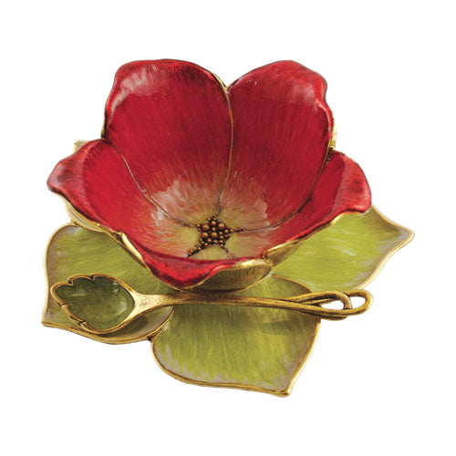 Small Flower Blossom Honey Dish Set, Red and Green By Quest