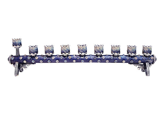 Children Menorahs Petite Cylindrical Blue-Silver MEN05A by Quest Gifts