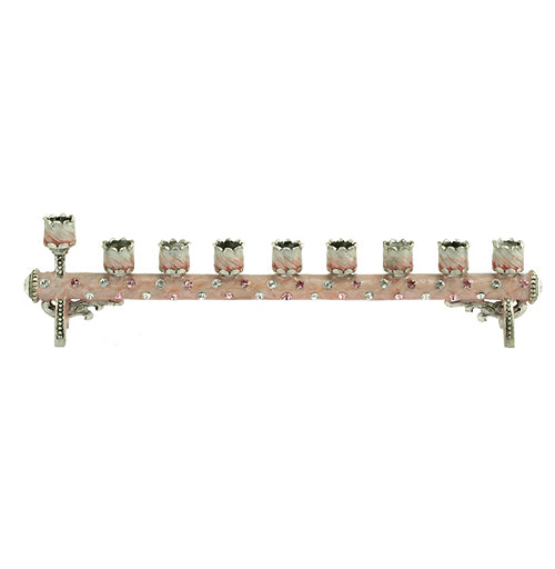 Children's Menorah Petite Cylindrical PinkSilver MEN05D by Quest Gifts