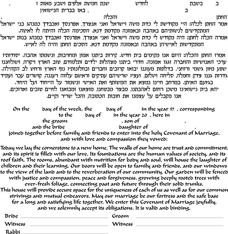 Small - Ring Ketubah, No Backing - by Enya Keshet
