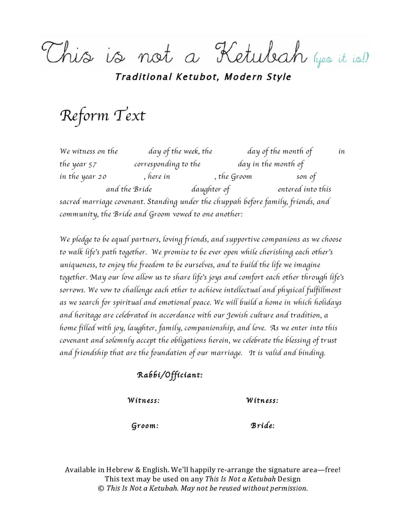 The Shabbat Table Ketubah by This is Not a Ketubah