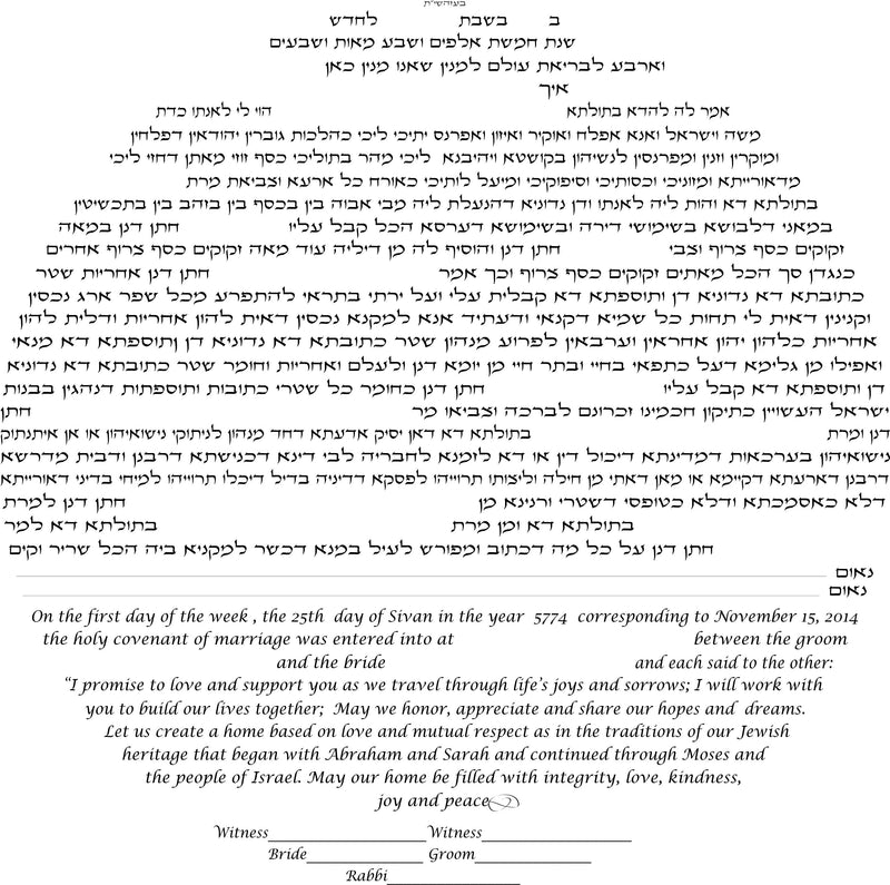 Beloved Birds Ketubah in Forest Green by Nehama Samson